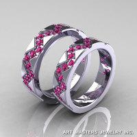 Classic Armenian 14K White Gold Pink Sapphire Wedding Band Set R504BS-14KWGPS-1