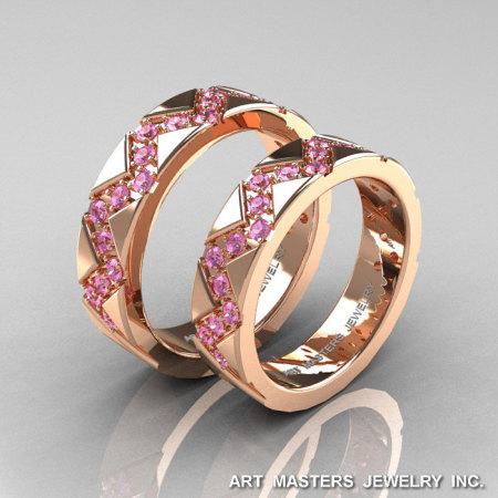 Classic Armenian 14K Rose Gold Light Pink Sapphire Wedding Band Set R504BS-14KRGLPS-1