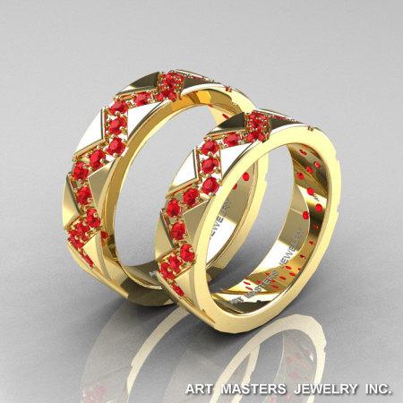 Classic Armenian 14K Yellow Gold Ruby Wedding Band Set R504BS-14KYGR-1