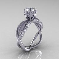 14k white gold white sapphire diamond unusual unique floral engagement ring anniversary ring wedding ring R278SB-WGDWS-1
