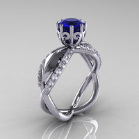 14k white gold blue sapphire diamond unusual unique floral engagement ring anniversary ring wedding ring R278-WGDBS-1