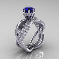 14k white gold blue sapphire diamond unusual unique floral engagement ring anniversary ring wedding band set R278S-WGDBS-1