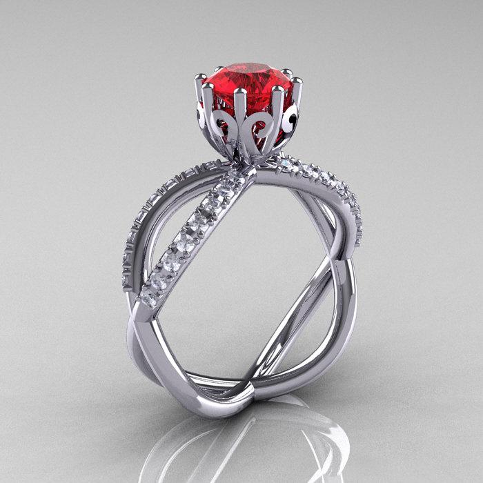 14k white gold ruby diamond unusual unique vine engagement ring
