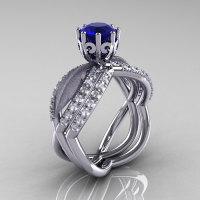 14k white gold blue sapphire diamond unusual unique floral engagement ring anniversary ring wedding band set R278SSB-WGDBS-1