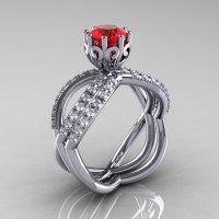14k white gold blue sapphire diamond unusual unique vine engagement ring anniversary ring wedding band set R279S-WGDR-1