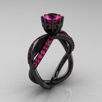 14k black gold pink sapphire unusual unique floral engagement ring anniversary ring wedding ring R278-BGDPS-1