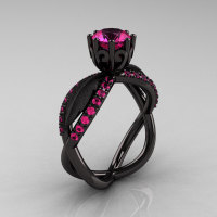14k black gold pink sapphire unusual unique floral engagement ring anniversary ring wedding ring R278SB-BGDPS-1
