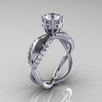 14k white gold cubic zirconia unusual unique floral engagement ring anniversary ring wedding ring R278SB-WGCZ-1