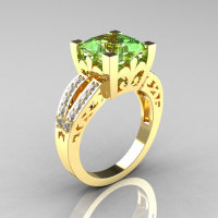 French Vintage 14K Yellow Gold 3.8 Carat Princess Green Topaz Diamond Solitaire Ring R222-YGDGT-1