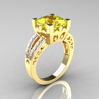 French Vintage 14K Yellow Gold 3.8 Carat Princess Yellow Topaz Diamond Solitaire Ring R222-YGDYT-1