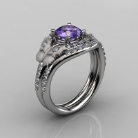 14KT White Gold Diamond Leaf and Vine Amethyst Wedding Band Engagement Ring Set NN117S-14KWGDAM Nature Inspired Jewelry-1