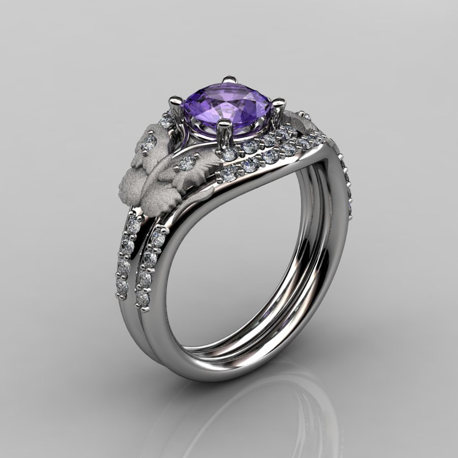 14kt White Gold Diamond Leaf And Vine Amethyst Wedding Band Engagement Ring Set Nn117s 14kwgdam