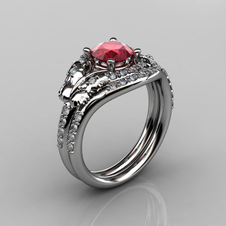 14KT White Gold Diamond Leaf and Vine Ruby Wedding Band Engagement Ring Set NN117S-14KWGDR Nature Inspired Jewelry-1