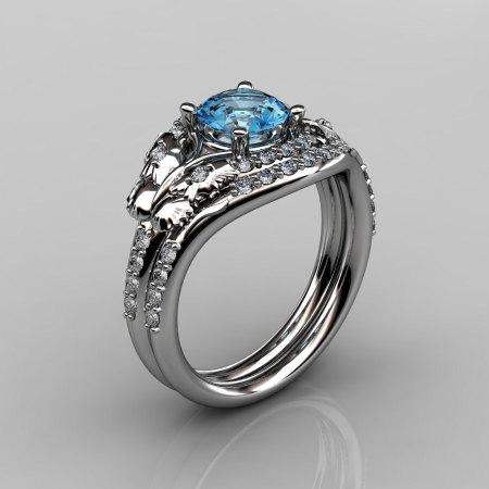 14KT White Gold Diamond Leaf and Vine Blue Topaz Wedding Band Engagement Ring Set NN117S-14KWGDBT Nature Inspired Jewelry-1
