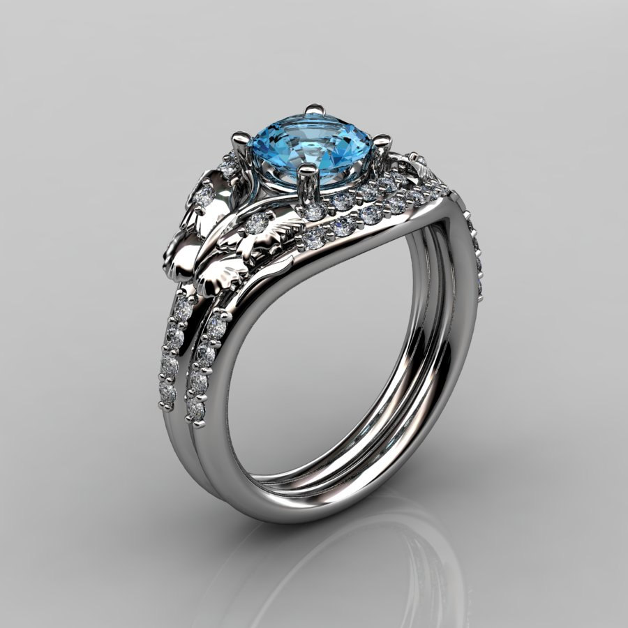 14kt White Gold Diamond Leaf And Vine Blue Topaz Wedding Band