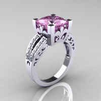 French Vintage 14K White Gold 3.8 Carat Princess Light Pink Sapphire Diamond Solitaire Ring R222-WGDLPS-1