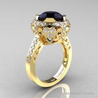 Modern Edwardian 14K Yellow Gold 3.0 Carat Black and White Diamond Engagement Ring Wedding Ring Y404-14KYGDBD-1