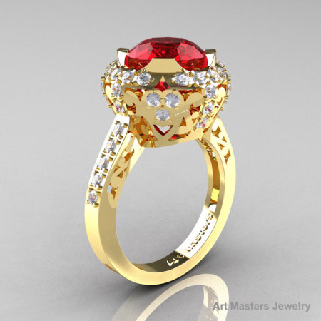 Modern Edwardian 14K Yellow Gold 3.0 Ct Ruby Diamond Engagement Ring Wedding Ring Y404-14KYGDR-1
