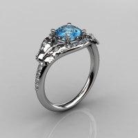 14KT White Gold Diamond Leaf and Vine Aquamarine Wedding Ring Engagement Ring NN117-14KWGDAQ Nature Inspired Jewelry-1