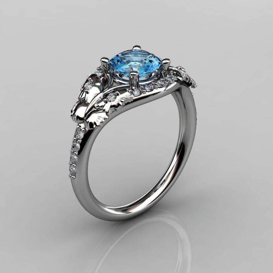 14KT White Gold Diamond Leaf and Vine Aquamarine Wedding ...