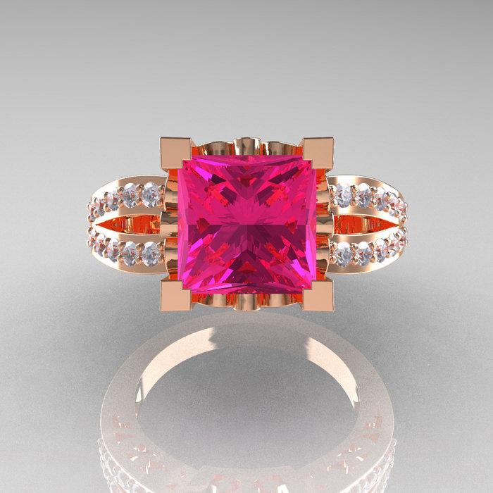 French Vintage 14k Rose Gold 3 8 Carat Princess Pink