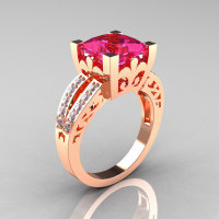 French Vintage 14K Rose Gold 3.8 Carat Princess Pink Sapphire Diamond Solitaire Ring R222-RGDPS-1