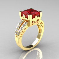 French Vintage 14K Yellow Gold 3.8 Carat Princess Ruby Diamond Solitaire Ring R222-YGDR-1