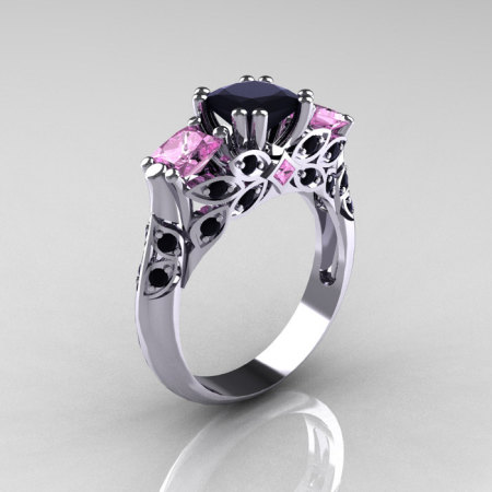 Classic 14K White Gold Three Stone Princess Black Diamond Light Pink Sapphire Solitaire Ring R500-14KWGLPSBD-1
