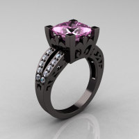 French Vintage 14K Black Gold 3.8 Carat Princess Light Pink Sapphire Diamond Solitaire Ring R222-BGDLPS-1