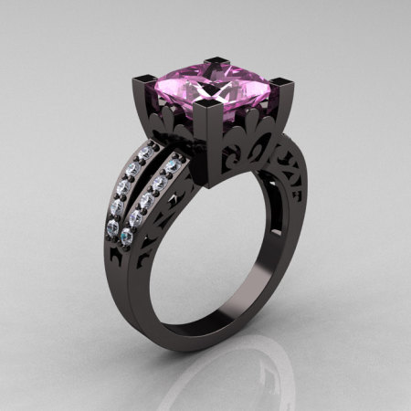 French Vintage 14K Black Gold 3.8 Carat Princess Light Pink Sapphire Diamond Solitaire Ring R222-BGDLPS-1