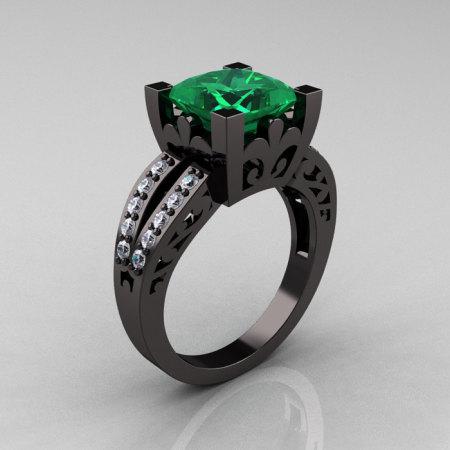 French Vintage 14K Black Gold 3.8 Carat Princess Emerald Diamond Solitaire Ring R222-BGDEM-1