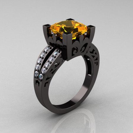 French Vintage 14K Black Gold 3.8 Carat Princess Citrine Diamond Solitaire Ring R222-BGDCI-1