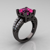 French Vintage 14K Black Gold 3.8 Carat Princess Pink Sapphire Diamond Solitaire Ring R222-BGDPS-1