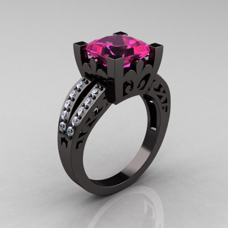 French Vintage 14K Black Gold 3.8 Carat Princess Pink Sapphire Diamond Solitaire Ring R222-BGDPS-1