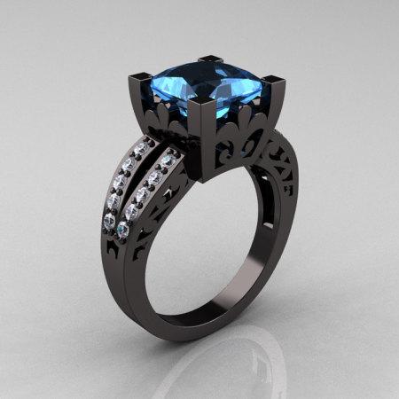 French Vintage 14K Black Gold 3.8 Carat Princess Blue Topaz Diamond Solitaire Ring R222-BGDBT-1