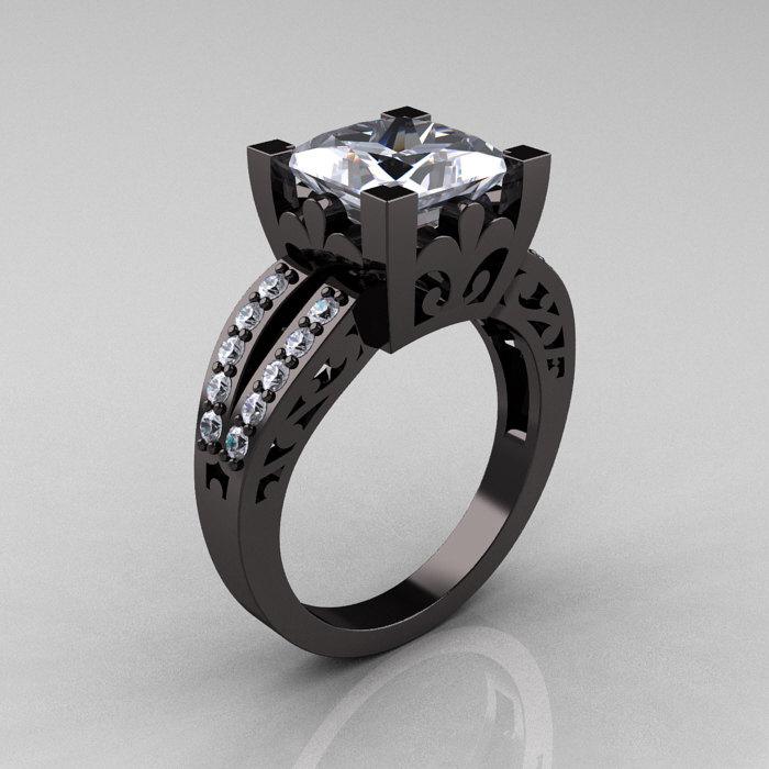 French Vintage 14K Black Gold 3 8 Carat Princess Cubic Zirconia Diamond Solit