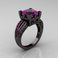 French Vintage 14K Black Gold Princess Amethyst Solitaire Wedding Ring R222-BGAM-1