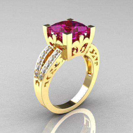 French Vintage 14K Yellow Gold 3.8 Carat Princess Amethyst Diamond Solitaire Ring R222-YGDAM-1