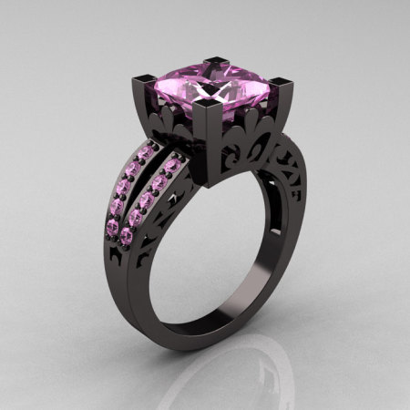 French Vintage 14K Black Gold Princess Light Pink Sapphire Solitaire Wedding Ring R222-BGLPS-1