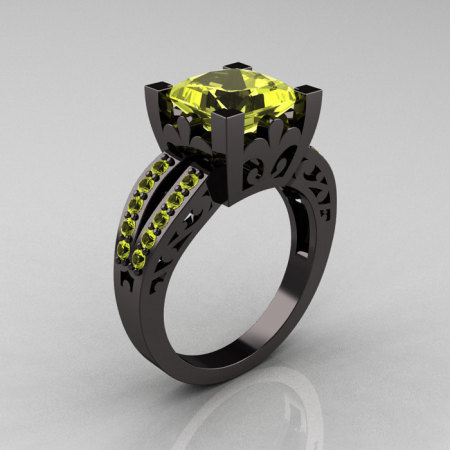 French Vintage 14K Black Gold Princess Yellow Topaz Solitaire Wedding Ring R222-BGYT-1