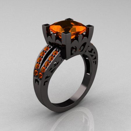 French Vintage 14K Black Gold Princess Orange Sapphire  Solitaire Wedding Ring R222-BGOS-1