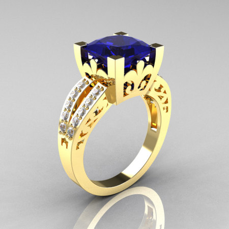 French Vintage 14K Yellow Gold 3.8 Carat Princess Blue Sapphire Diamond Solitaire Ring R222-YGDBS-1