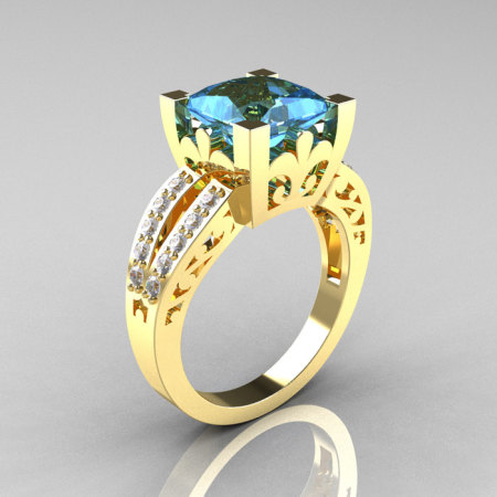 French Vintage 14K Yellow Gold 3.8 Carat Princess Blue Topaz Diamond Solitaire Ring R222-YGDBT-1