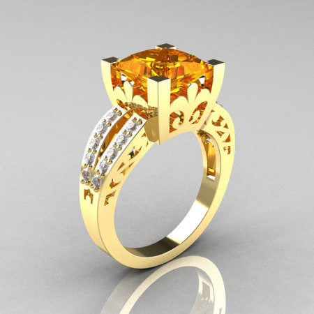 French Vintage 14K Yellow Gold 3.8 Carat Princess Citrine Diamond Solitaire Ring R222-YGDCI-1