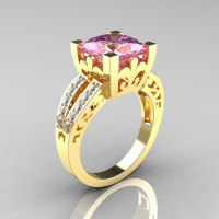 French Vintage 14K Yellow Gold 3.8 Carat Princess Light Pink Sapphire Diamond Solitaire Ring R222-YGDLPS-1
