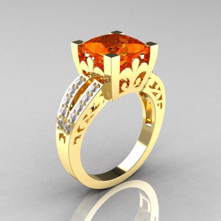 French Vintage 14K Yellow Gold 3.8 Carat Princess Orange Sapphire Diamond Solitaire Ring R222-YGDOS-1