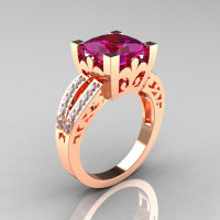 French Vintage 14K Rose Gold 3.8 Carat Princess Amethyst Diamond Solitaire Ring R222-RGDAM-1