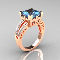 French Vintage 14K Rose Gold 3.8 Carat Princess Blue Topaz Diamond Solitaire Ring R222-RGDBT-1