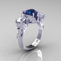 Scandinavian 14K White Gold 2.0 Ct Heart Alexandrite White Sapphire Diamond Three Stone Designer Engagement Ring R434M-14KWGDWSAL-1