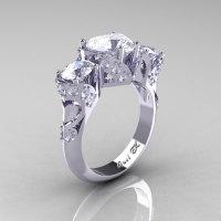Scandinavian 14K White Gold 2.0 Ct Heart White Sapphire Diamond Three Stone Designer Engagement Ring R434M-14KWGDWS-1